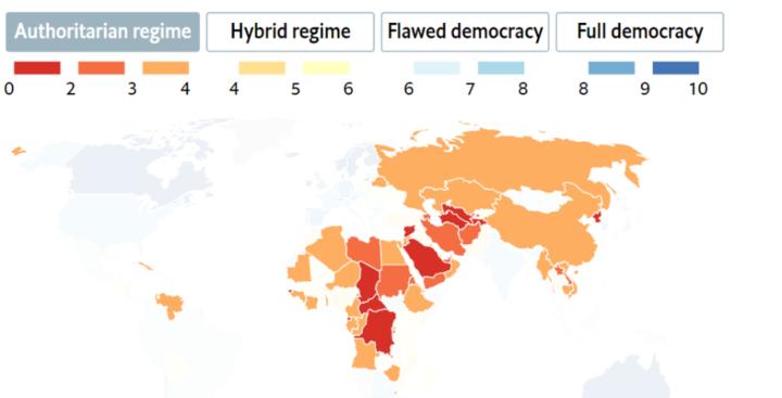 独裁国家の世界地図